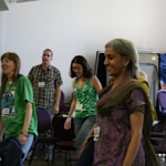 "Suha, Janina, Mark and Norrie during a workshop ""energizer"""