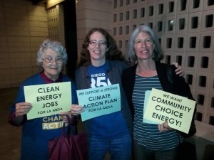 Co-organizers of SD350 volunteers, Jean Costa and Angela Deegan stand with Masada outside La Mesa Council Chambers before the start of the hearing.