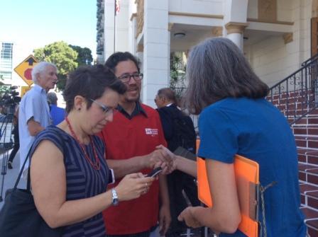 Building a broad coalition: Angela meets Damian Tryon of the California Nurses Association