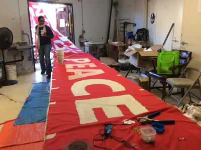 The banner continues through the door and onto the kitchen table.