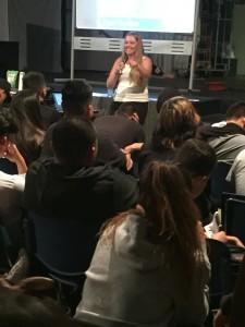 Lindsey Richardson engages students at Southwest High School. (Image: SanDiego350)