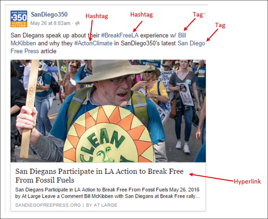 Facebook post on the SanDiego350 page tagging Bill McKibben and San Diego Free Press, using a photo from the article it references, two relevant hashtags and hyperlinking to the article. Note that when tagging on Facebook, you need to start with the @ symbol, but it doesn't actually display in your post.