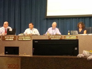 San Diego Unified School Board Members and Superintendent Cindy Marten at the July 26 meeting.