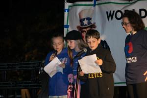 3rd graders speak at rally