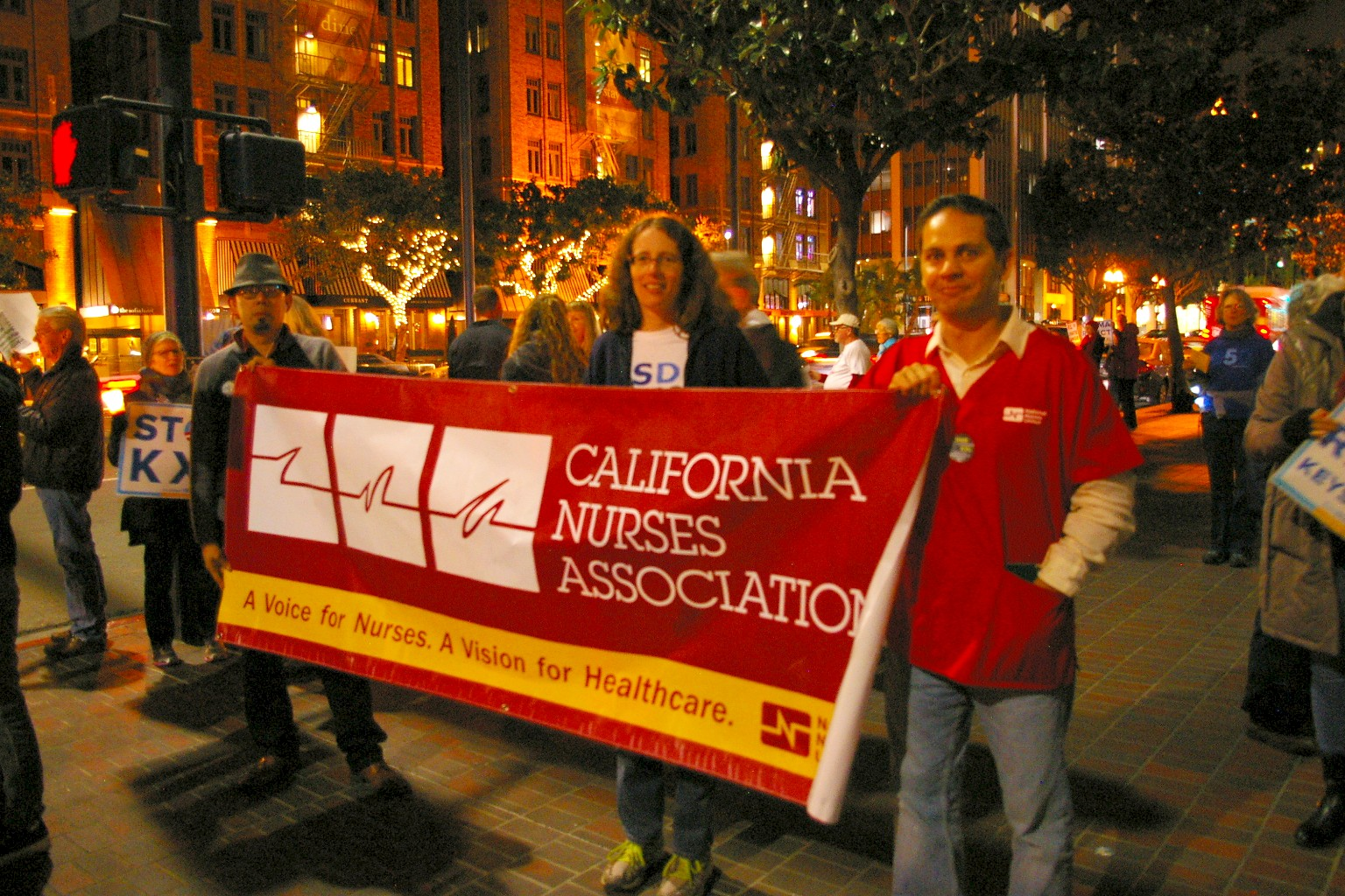 California Nurses Association at downtown KXL vigil, February 2014 by Diane Lesher